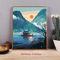 Tranh sơn dầu số hóa tự tô màu Tranh cổ phong Trung Hoa PC4102 khung 2.5cm