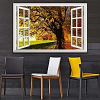 Bức tranh 3D dán tường cửa sổ PHONG CẢNH RỪNG CÂY 2 lựa chọn bề mặt cán PVC gương hoặc cán bóng, mã số: 00402161L11