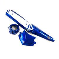 Bộ combo ốp pô chụp bô mão đầu xe dành cho xe côn tay Ex 150 (xanh dương)