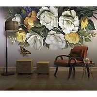 Tranh dán tường Hoa 3D trang trí phòng ngủ - vải lụa phủ kim sa