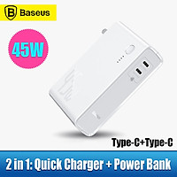 Baseus GaN Power Bank 10000mAh 2 in 1 USB Charger 45W PD Fast Charging Battery For iP 11 Pro MacBook Pro Laptop