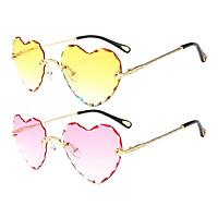 2Pcs Fashion Womens Heart Shaped Sunglasses Retro Tinted Lens Eyewear Shades