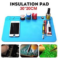 Heat Insulation Silicone Pad Desk Mat Soldering Iron Repair For Maintenance Work 30cmx20cm