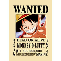 Poster Truy Nã Team Mũ Rơm Onepiece MONKEY.D.LUFFY - bìa cứng kẹp sách A5 đẹp chất