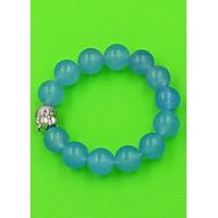 Vòng đeo tay đầu Phật Như lai inox trắng - Chuỗi đeo tay đá thạch anh xanh biển 14 ly VTXBNLT14 - Chuỗi đeo tay đá phong thủy