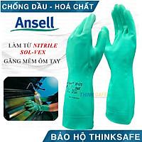Găng chống hóa chất Ansell 37-175 cấu tạo nitrile chống hóa chất, chống dầu nhớt, có lót thấm hút mồ hôi tốt (xanh lá)