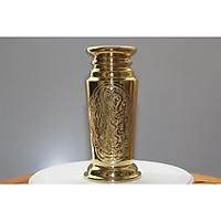 Ống đựng nhang bằng đồng vàng có in chữ phong thủy