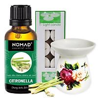 Combo Tinh Dầu Sả Tươi Nomad Citronella Essential Oils 50ml + Đèn Đốt Dạng Nến + 1 Hộp Nến Tealight 10 Viên