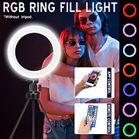 APP Control 128 LEDs RGBW Ring Selfie Light Phone Holder Photography Fill Light for Youtube Video Makeup Live Stream Selfie with Remote control