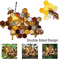 High Stained Glass Suncatcher Bee Window Panel Hanging Decorations 18x13cm