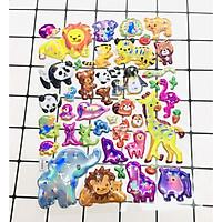 Hình Dán con vật sticker Nổi 3D set 3 bảng ( 99 miếng ảnh )