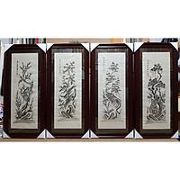 Tranh dân gian Đông Hồ- Bộ tứ quý TÙNG CÚC HỒNG MAI -đen trẵng