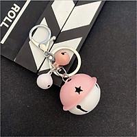 Móc khóa bạc leng keng quả chuông khắc ngôi sao - Hồng trắng