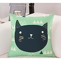 Gối tựa lưng, gối vuông trang trí vải bố dày dặn cao cấp hình mèo