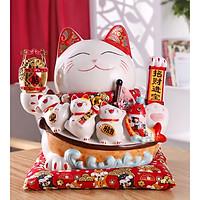 Mèo Thần Tài tay vẫy 27cm bằng sứ cao cấp - mẫu Khai Vận Phát Tài (tặng kèm 50 xu vàng mini may mắn)
