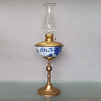 Đèn thờ dầu men lam vẽ Rồng Phượng gốm sứ Bát Tràng (đèn dầu, đèn thờ cúng)