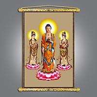 Tranh Phật giáo - Tây Phương Tam Thánh, Chất liệu vải canvas nẹp sáo gỗ, nhiều size , nhiều mẫu hình ảnh sắc nét rực rỡ chân thực.