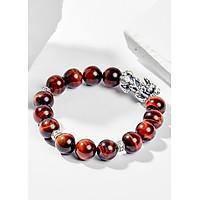 Vòng Tay Phong Thủy Đá Mắt Hổ Nâu Đỏ Phối Charm Tỳ Hưu Bạc (10mm) Mệnh Hỏa, Thổ Ngọc Quý Gemstones