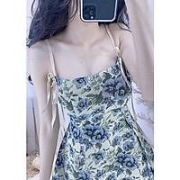 Đầm gấm bố hoa 2 dây phối nơ kèm mút ngực (ảnh thật)