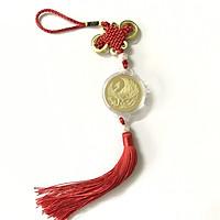 Dây treo như ý xu may mắn khắc hình Phượng Hoàng (Phụng), chất liệu Niken, dây treo xu bằng dây bện màu đỏ, thu hút tài lộc, thăng tiến sự nghiệp - SP001141