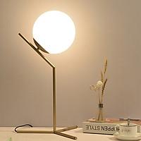 Đèn ngủ để bàn - đèn ngủ để đầu giường - đèn ngủ LED tròn caoc ấp ICE mạ crom vàng