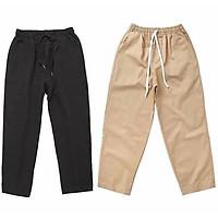 Quần Baggy Nam Kaki Ống Suông Unisex - Kiểu quần baggy kaki nam nữ thun vải đen và be tan, xám
