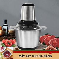 Máy xay thịt cối inox dung tích 2L, máy xay đa năng 4 lưỡi có thể dùng xay hành tỏi, xay tiêu hoặc các loại thực phẩm