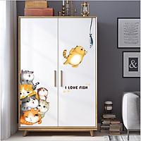 Decal dán tường mèo con dễ thương I love fish đủ màu trang trí nhà cửa đẹp, sáng tạo (197 x 75 cm)