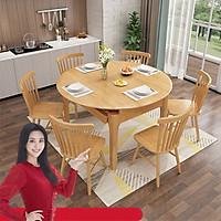 Bàn ăn gấp gọn gỗ tự nhiên CF812 135cm kèm 6 ghế (kt 135x85x78cm)