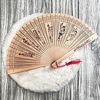 Quạt cổ trang gỗ thơm in hình LỤC NỮ quạt xếp cầm tayphong cách Trung Quốc