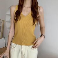 Áo Hai Dây Dệt Kim Cổ Chữ V Màu Trơn Thời Trang Dành Cho Nữ