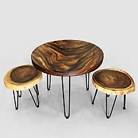 Bộ bàn Cafe 2 ghế gỗ Me Tây nguyên khối đường kính 65 dày 5 (cm)
