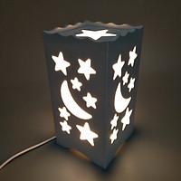 ĐÈN LED 3D CHẠM KHẮC TRANG TRÍ GIẢ GỖ MẪU TRĂNG SAO