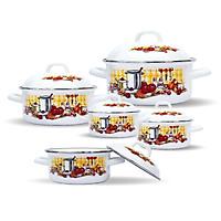 Bộ nồi 10 món Chefina Trendy Kitchen nắp trắng, Tặng Bộ bình ấm trà 4 tách