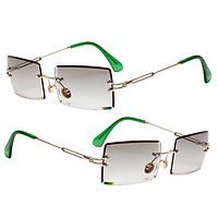 2x Women Rectangle Cut Rimless Sunglasses Retro Tinted Lens Eyewear UV400 Green