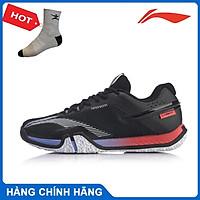 Giày cầu lông nam Lining AYTQ025  màu trắng phối đen hàng chính hãng - Tặng kèm tất Bendu chính hãng
