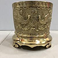 bát hương bằng đồng song long chầu nguyệt đường kính 25cm