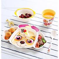 Set 4 món chén, dĩa, muỗng và ly uống nước hình chú chó cứu hộ Dog Paw Patrol 3D màu hồng trắng cho các bé ăn uống - 140P7NWW6634