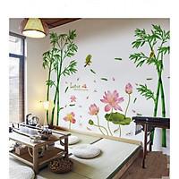 Giấy dán tường combo phong cảnh Việt Nam thiên nhiên yên bình - hoa sen lotus