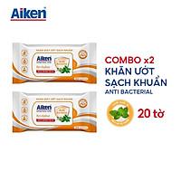 Aiken Combo 2 Gói Khăn Ướt Sạch Khuẩn Chiết Xuất Bạc Hà 20 Tờ