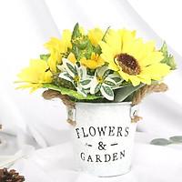 Chậu hoa Hướng Dương hình xô nước để bàn độc đáo
