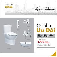 Combo sản phẩm bàn cầu+lavabo+vòi lavabo lạnh+sen tắm lạnh+vòi xịt - CD1320+L2150+B270C+S380C+BS304A