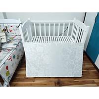Combo Giường cũi trẻ em kèm đệm bông ép, nôi cũi sơn trắng, đệm bông ép dày 5cm