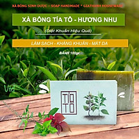 Xà bông Sinh Dược Tía tô, xà bông cục handmade 100gr, mẫu bao bì vẽ mộc, mùi hương nhu thơm nhẹ, làm sạch diệt khuẩn hiệu quả, an toàn và có lợi cho sức khỏe