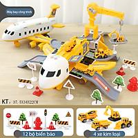 Bộ đồ chơi máy bay có nhạc và đèn  KAVY  NO. 8808 chạy đà chủ đề công trình kèm giàn cẩu thang trượt, 4 ô tô kim loại - màu vàng