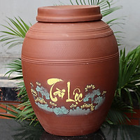 Chum sành ngâm rượu Tài Lộc 60 Lit gốm sứ Bát Tràng (bình rượu, bình ngâm rượu, chum ngâm rượu)
