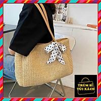 Túi Cói Vintage Nữ Tặng Kèm Nơ ️ ️ Túi Cói Đi Biển, Đi Chơi Hàng Đẹp Siêu Thời Trang SPB 190 tuyể