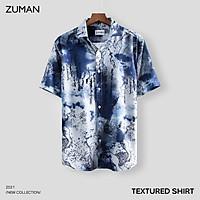 Áo sơ mi nam họa tiết  tay ngắn Textured Shirt ASM11 ZUMAN form suông, Chất lụa chéo, thoáng mát, không nhăn