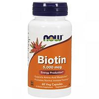 Thực Phẩm Chức Năng Biotin 5,000 mcg NOW Foods USA – Ngăn ngừa rụng tóc, bạc tóc, giúp da, móc, tóc khỏe mạnh