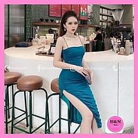 Váy Thiết Kế Body 2 dây nhỏ, váy body sẻ đùi xinh đẹp quyến rũ - H&N Store